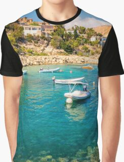 Boats at Cala del Morro Blanc Graphic T-Shirt