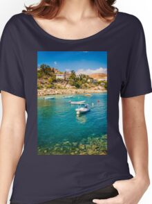 Boats at Cala del Morro Blanc Women's Relaxed Fit T-Shirt