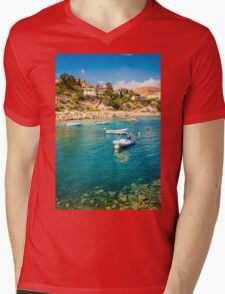 Boats at Cala del Morro Blanc Mens V-Neck T-Shirt