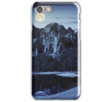 lake near the mountain in pine forest at night iPhone Case/Skin