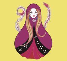 Matryoshka with Feathers One Piece - Short Sleeve