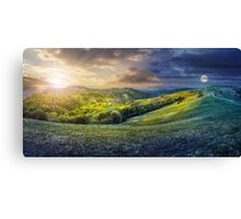 day nad night concept of Rural landscape Canvas Print