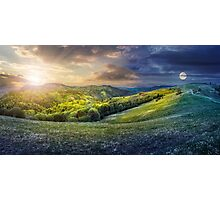 day nad night concept of Rural landscape Photographic Print