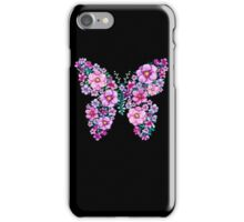 Watercolor Floral Butterflies with Pink and Purple Flowers iPhone Case/Skin