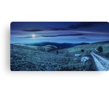 road on hillside meadow in mountain panorama at night Canvas Print