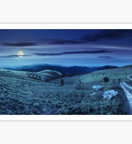 road on hillside meadow in mountain panorama at night Sticker