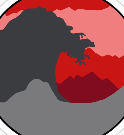 The Great Wave - Deep Red Sticker
