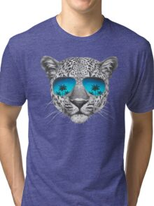Leopard with sunglasses Tri-blend T-Shirt
