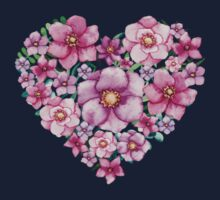 Floral Heart with Watercolor Pink Flowers, Blue and Green Leaves Kids Tee