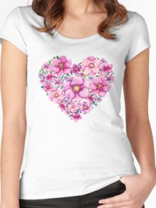 Floral Heart with Watercolor Pink Flowers, Blue and Green Leaves Women's Fitted Scoop T-Shirt