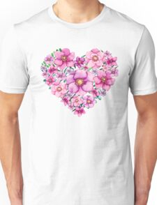 Floral Heart with Watercolor Pink Flowers, Blue and Green Leaves Unisex T-Shirt