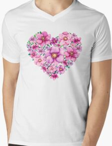 Floral Heart with Watercolor Pink Flowers, Blue and Green Leaves Mens V-Neck T-Shirt