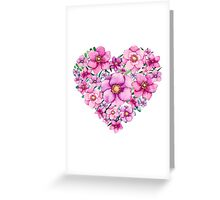 Floral Heart with Watercolor Pink Flowers, Blue and Green Leaves Greeting Card