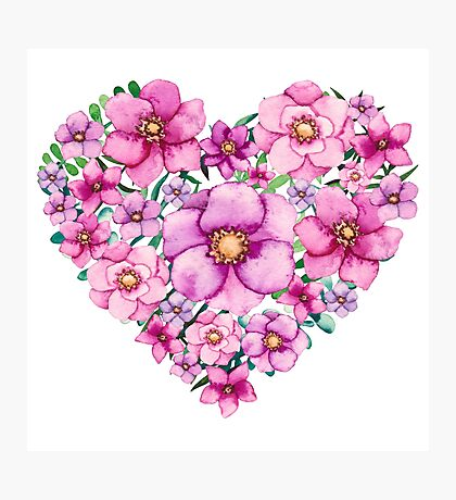Floral Heart with Watercolor Pink Flowers, Blue and Green Leaves Photographic Print