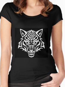 Tribal Wolf Snarl Spiral - White Women's Fitted Scoop T-Shirt