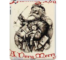 Vintage Santa Wishing You A Very Merry Christmas iPad Case/Skin