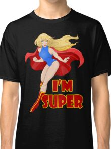 Woman Super Hero Flying With Cape Classic T-Shirt