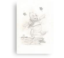 Winnie the Pooh - leaves Canvas Print