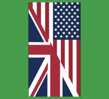American and Union Jack Flag One Piece - Short Sleeve