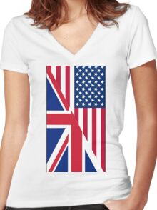 American and Union Jack Flag Women's Fitted V-Neck T-Shirt