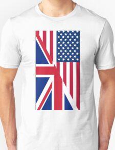 American and Union Jack Flag Unisex T-Shirt