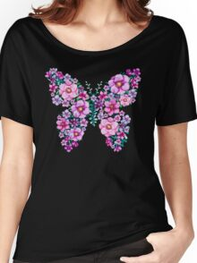 Watercolor Floral Butterflies with Pink and Purple Flowers Women's Relaxed Fit T-Shirt