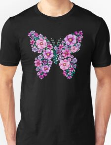 Watercolor Floral Butterflies with Pink and Purple Flowers Unisex T-Shirt