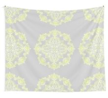 Pale Lemon Yellow Lace Mandala on Grey Wall Tapestry