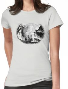 Think Deathly Hallows Moon Womens Fitted T-Shirt