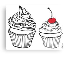 Cupcakes, Drawing with Red Cherry Canvas Print
