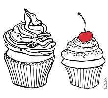 Cupcakes, Drawing with Red Cherry Photographic Print