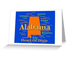 Colorful Alabama State Pride Map Silhouette  Greeting Card