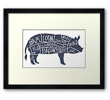 Hand Drawn Pork Illustration with cut scheme Framed Print