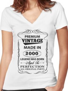 Premium Vintage 2000 Aged To Perfection Women's Fitted V-Neck T-Shirt