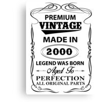 Premium Vintage 2000 Aged To Perfection Canvas Print