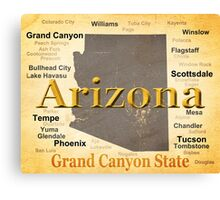 Aged Arizona State Pride Map Canvas Print