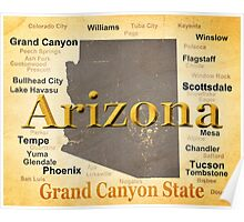Aged Arizona State Pride Map Poster