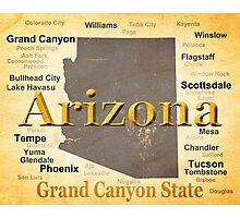 Aged Arizona State Pride Map Photographic Print
