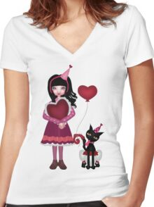 Francis Mary - Valentine Love Women's Fitted V-Neck T-Shirt