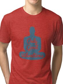 Meditation Human silhouette isolated on white background Tri-blend T-Shirt