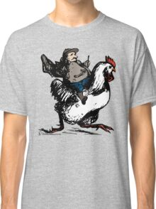 Funny Race - Cool Vintage Fat Man Riding A Chicken Classic T-Shirt
