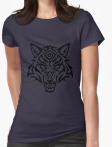 Tribal Wolf Snarl - Black Spiral Womens Fitted T-Shirt