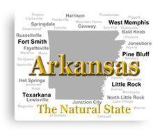Arkansas State Pride Map Silhouette  Canvas Print