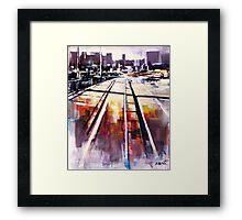Shadows on the bridge Framed Print