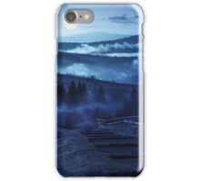 steps down to village in foggy mountains at night iPhone Case/Skin