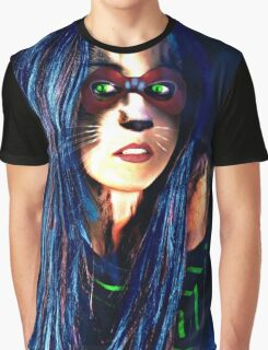 Halloween Cat Woman Graphic T-Shirt