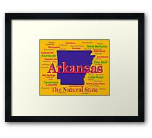 Colorful Arkansas State Pride Map Silhouette  Framed Print