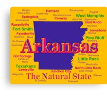 Colorful Arkansas State Pride Map Silhouette  Canvas Print