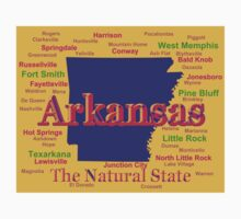 Colorful Arkansas State Pride Map Silhouette  Kids Clothes