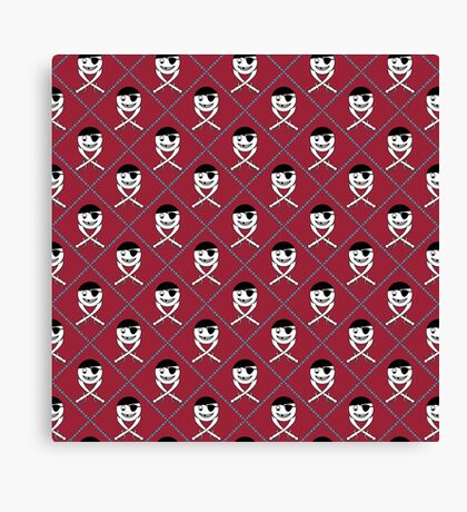 Friendly Jolly Roger Diamond Pattern in Red and Black Canvas Print